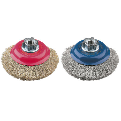 HSD0100R77 Bevelled Brush High Speed 100mm x 24mm x 0.3mm - M10 Multi Fit - Coated Steel