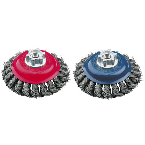 HSK0100KM14 Bevelled Brush High Speed Twist Knot 100mm x 22mm x 0.5mm - M14 x 2 - Tempered Steel